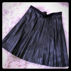 Faux Leather J Crew Pleated Skirt
